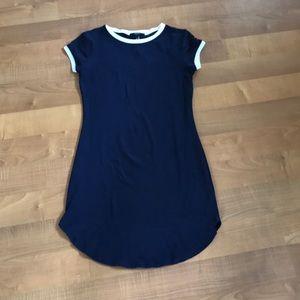 Navy blue T-shirt dress. Snug fit. Never worn